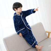 children solid pajamas flannel sets navy blue and pink nightwear for 3 12 years kids toddler boys girl pajamas set clothes