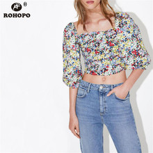 ROHOPO Off Shoulder Women Tiny Printed Crop Top Tees Draped Three Quarter Chic Girl Autumn Pullover Tee Shirt #UK9472