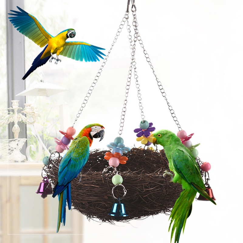 Natural Rattan Nest Birds Swing Toy with Bells Cage Perch Stand For Parrot Budgie Parake ...