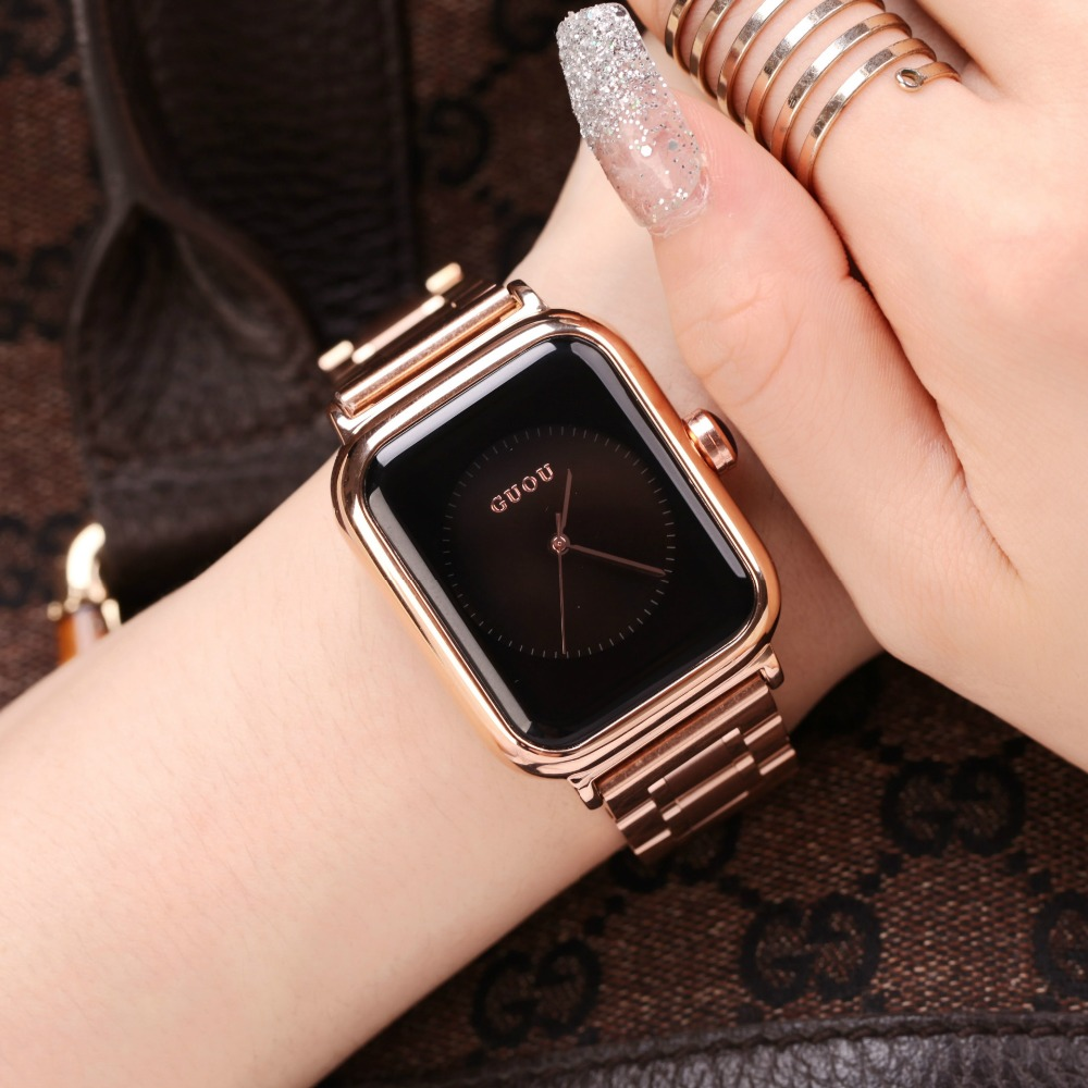 Simple Fashion Watch Top Brand GUOU Rectangle Dial Genuine Leather Quartz Watch Women Watches Lady Hour Clock relogio feminino longbo brand genuine leather lovers quartz watch simple style women men casual watch waterproof relogio masculine feminino clock