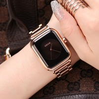 Simple Fashion Watch Top Brand GUOU Rectangle Dial Genuine Leather Quartz Watch Women Watches Lady Hour Clock relogio feminino