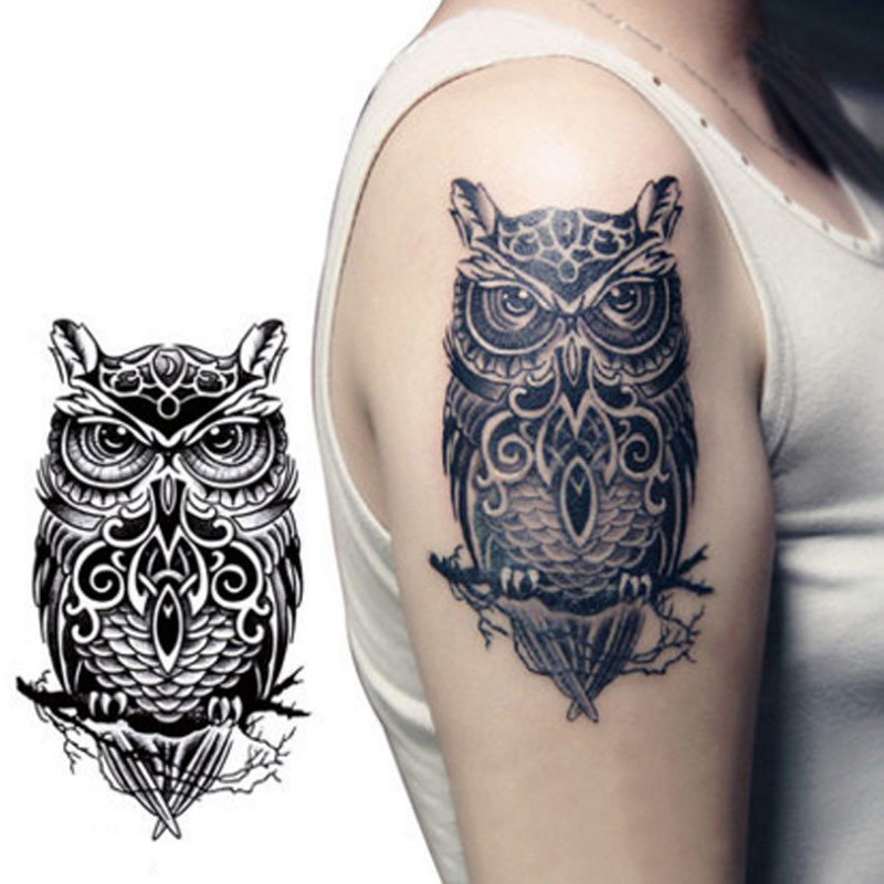 19*12cm Cool Black Owl Shaped Waterproof Temporary Tattoos Sticker for Women Men Tattoo Sleeve Sexy Tatto Body Art Accessories 6
