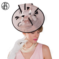 2017 Summer Woman Vintage Pink Flowers Feather Wedding Hat With Bowknot Banquet Fascinator Hats