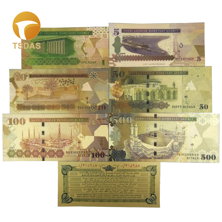 One Dollar Colorful Gold Banknote 999 Gold Plated Bill Art Ornament with Stand