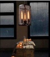 3 Head American Vintage Style Wrought Iron Net Loft Pendant Light Restaurant Light Bars Light Dining