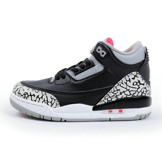8fa77499b50a5f KID AIR US JORDAN 3 Outdoor Shoes Boy Black Cement White Fire Red Outdoor  Sneakers Sport