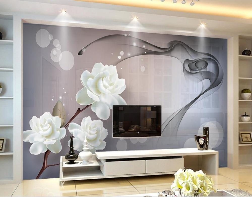 US $14.0 65% OFF|Moderne wohnzimmer tapeten Fantasie weiß blumen rauch 3d  wandbilder wallpaper Dekoration-in Tapeten aus Heimwerkerbedarf bei ...