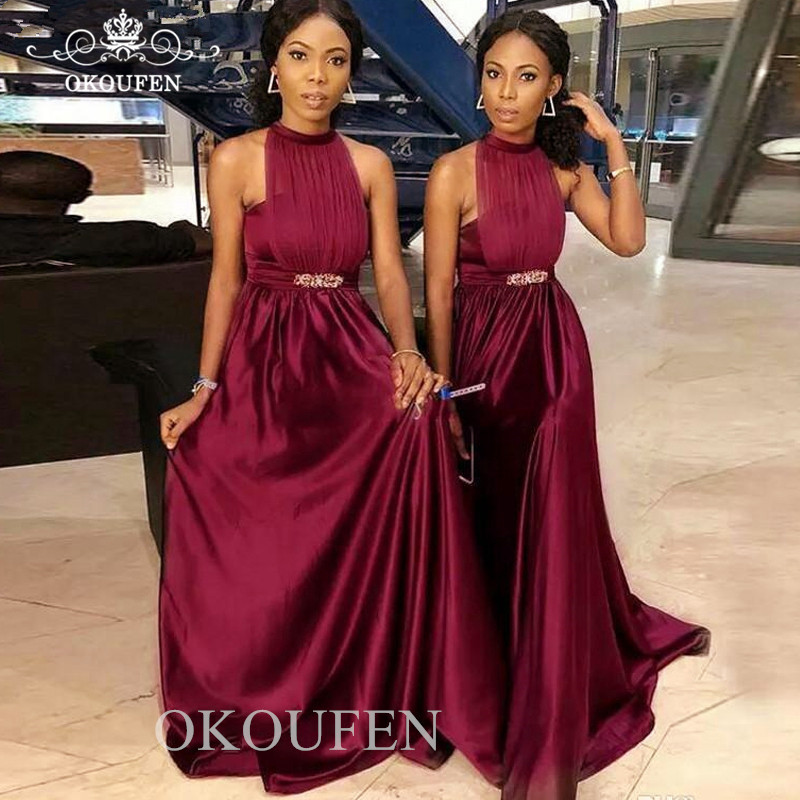 Burgundy Satin   Bridesmaid     Dresses   With Beads Waist 2019 Sexy Halter Under 100 Cheap Long Party   Dress   Maid Of Honor For Women