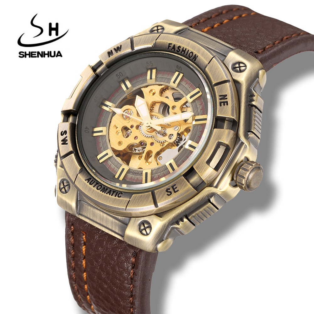 Shenhua Mens Retro Bronze Mechanical Skeleton Watches Steampunk Antique Power Automatic Self Winding Leather Watch Colck Men retro hollow skeleton automatic mechanical watches men s steampunk bronze leather brand unique self wind mechanical wristwatches