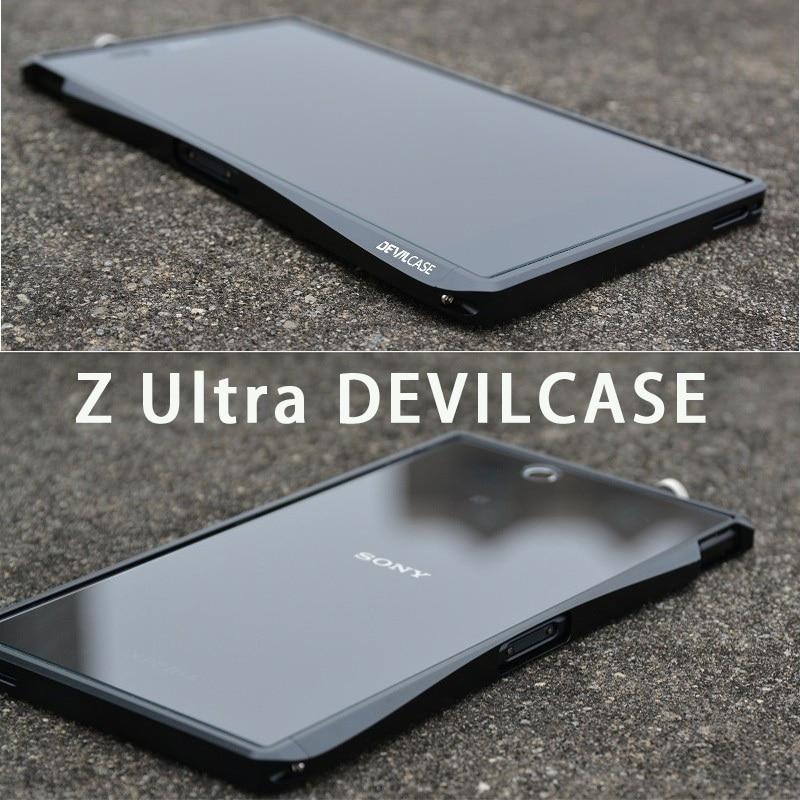imágenes para DEVILCASE Para SONY Xperia Z Ultra ZU XL39H El Estilista de Moda Delgado Carcasa Metálica de Plata Negro
