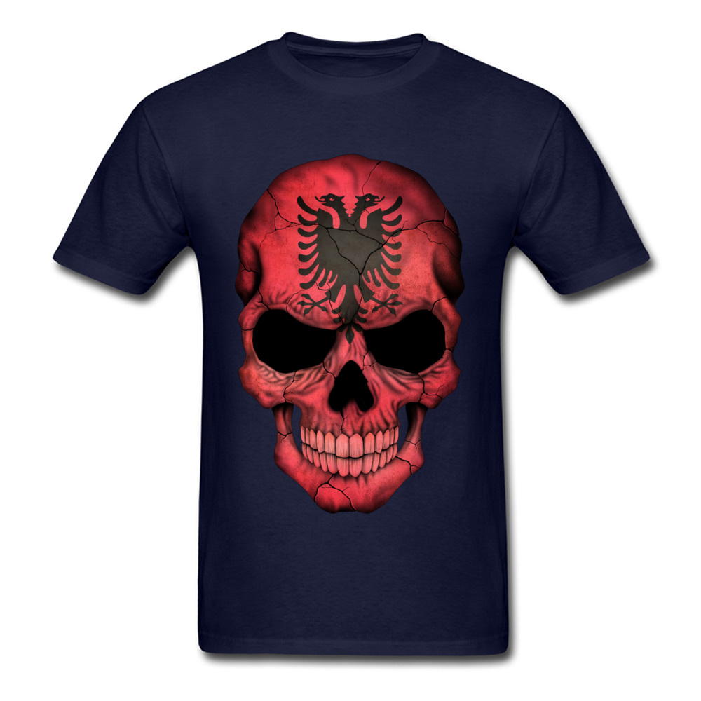 Albanian Flag Skull O-Neck T-Shirt NEW YEAR DAY Tops Tees Short Sleeve On Sale Cotton Casual Tops T Shirt Birthday Men's Albanian Flag Skull navy