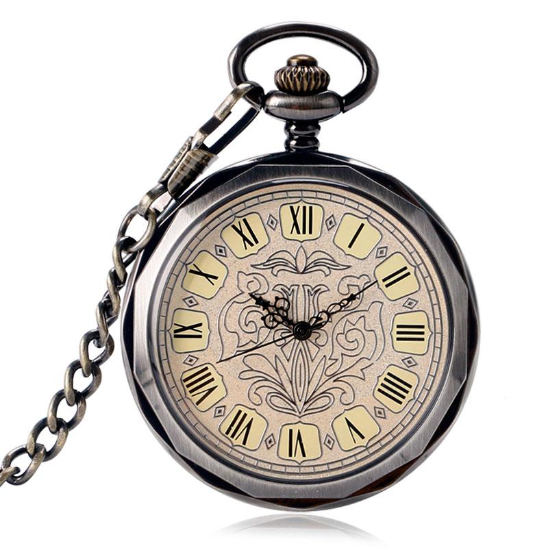 Classic Elegant Vintage Pendant Clock Men Women Open Face Mechanical Hand Winding Pocket Watch Exquisite Vintage Fob Chain Hour