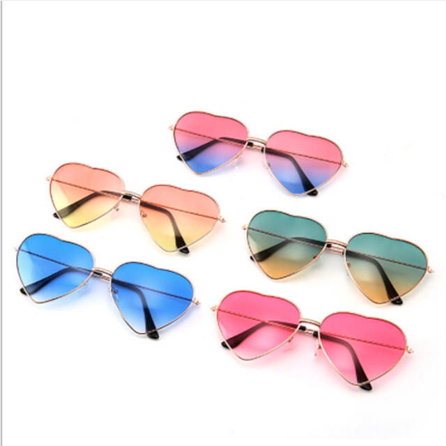 4dfe6e3a8cb30 Heart Shaped Sunglasses Women Metal Frame Reflective Lens Sun protection  Sunglasses Men Mirror De Sol Fashion Driver Goggles