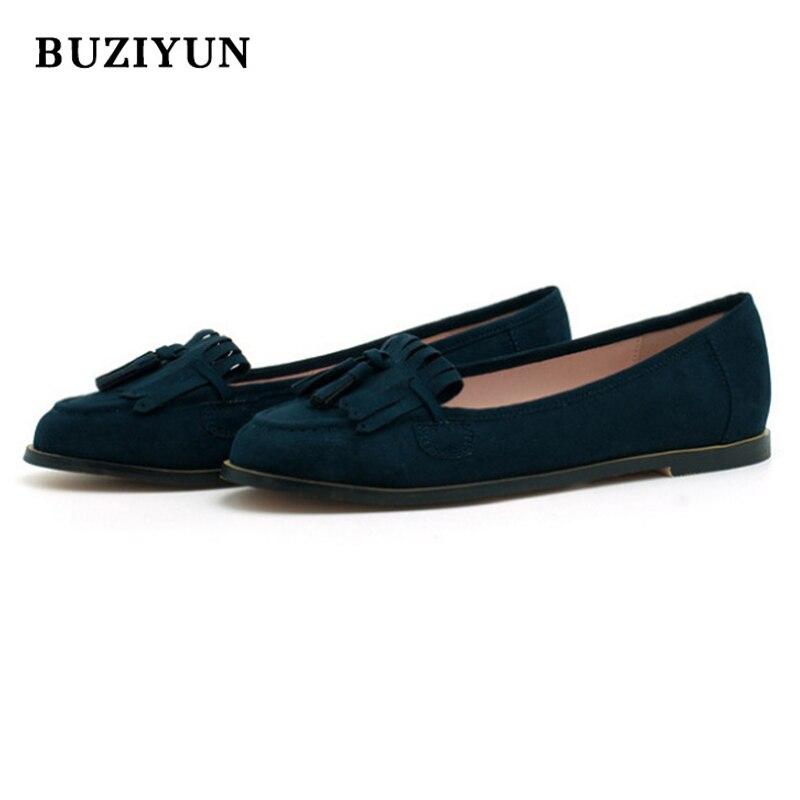 BUZIYUN Women's Dress Casual Wedding Shoes Black Dark Blue Soft Pleather Leofers Woman Low Heels Shoes Size 36-39 napapijri guji check dark blue