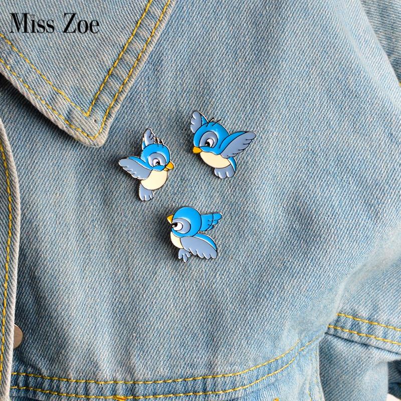3pcs/set Enamel blue bird pin Cartoon flying fledgling Animal Brooch Denim Jacket Pin Buckle Shirt Badge Gift for Kids 1