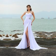 Bridal Dress Sheath Straps Beading Sleeveless Long Chiffon Beach Wedding Dresses Slit White Crystals Vestidos de Noiva Renda ma(China)