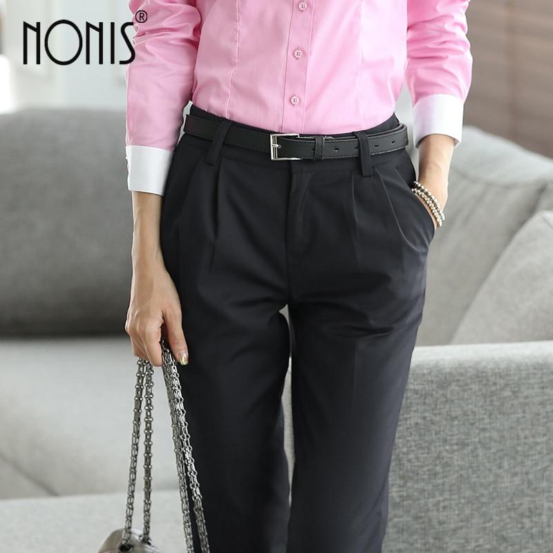 75c969d4139a68 R$ 112.13 |Nonis comprimento Total profissional calças de negócios calças  Formais mulheres meninas magro trabalho desgaste do escritório carreira ...