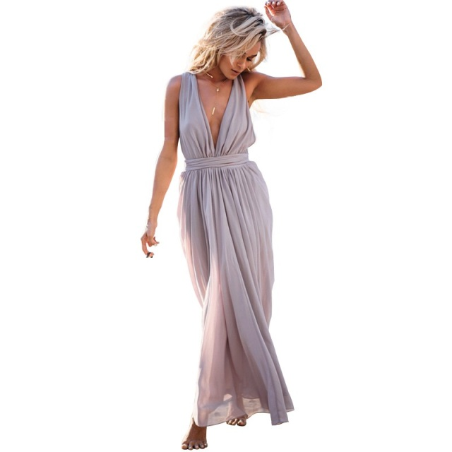 Boho Hippie Chic Chiffon Beach Dress Sukienka Robe Boheme Chic Women Sleeveless Sexy Deep V Neck Elastic Waist Maxi Dress Frocks Dresses Aliexpress