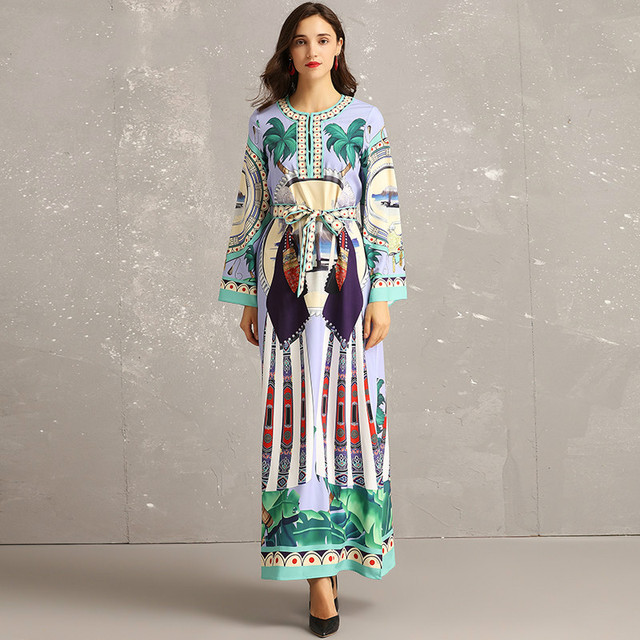 4ade7a374d5e6 US $47.99 20% OFF|New Spring Summer 2019 Fashion Designer Runway Dress  Women Long Sleeve Extol Scenery Printing Placket Long Maxi Dresses +  Belt-in ...