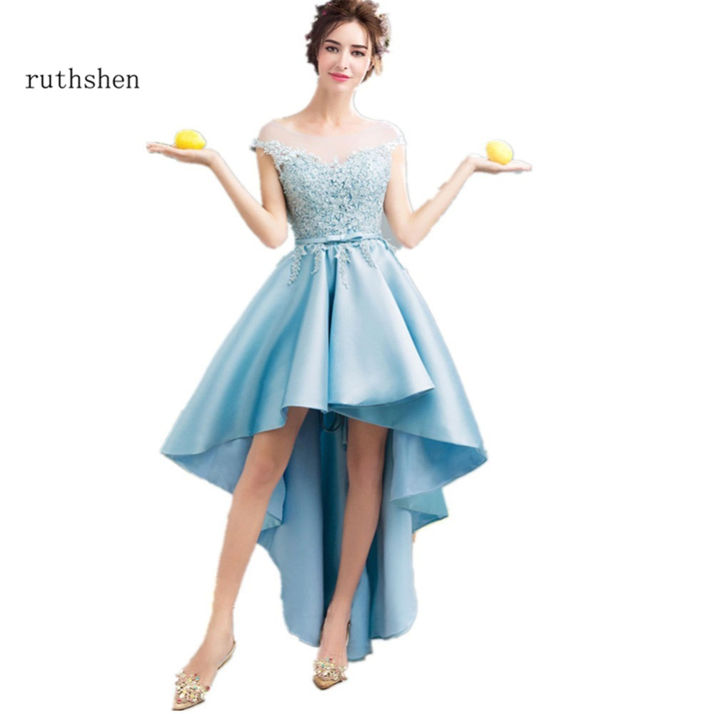 ruthshen Light Blue High Low   Prom     Dresses   2018 Cap Sleeves Lace Appliques Short Front Long Back Sexy Cocktail Party   Dress