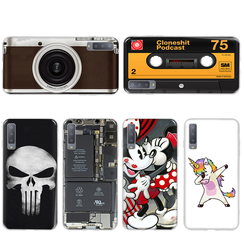 Soft TPU Silicone Case For Samsung Galaxy A7 2018 Case For Samsung <font><b>A72018</b></font> A750 A750F 6 Inch Cover Case Back Fundas Retro Camera image
