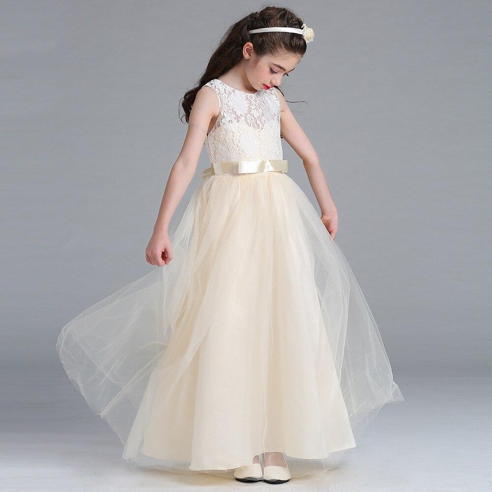 Girls dress long flower Lace champagne dresses girl wedding Ribbon party dress sleeveless vestido de festa longo saia falda 2015 cintura baixa saia falda