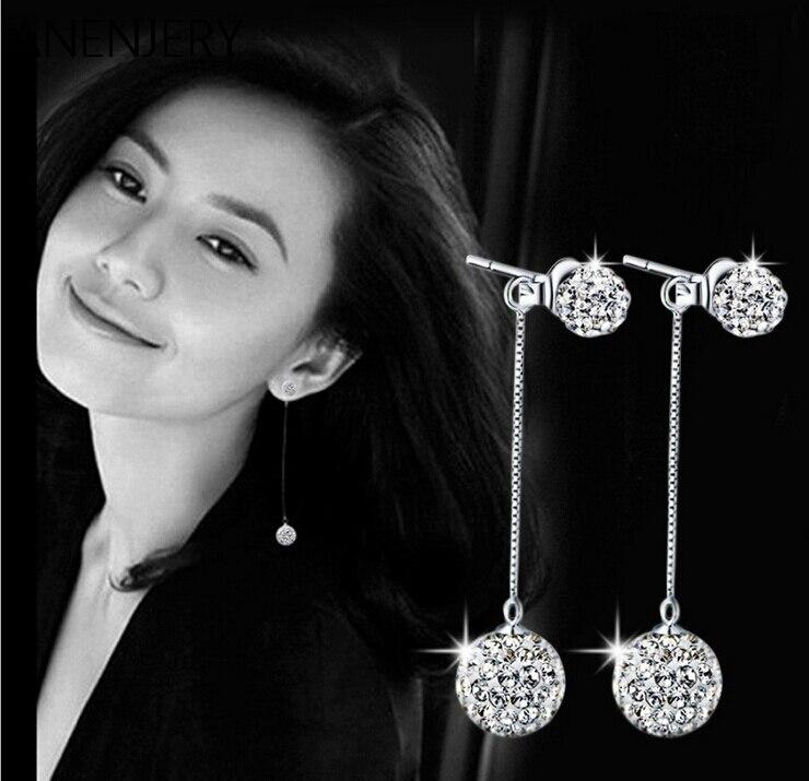 New Arrival!! 925 Sterling Silver Earrings Shambhala Crystal Ball Long Tassel Stud Earrings brincos For Women S-E01