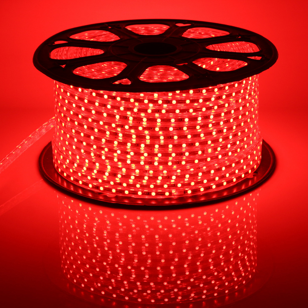 Red 220V LED Strip Light Waterproof 20-100M 60 LEDs/ meter Bright Flexible 5050 SMD LED Outdoor Garden Home Strip Rope Light 20m waterproof rgb 5050 smd 60 leds m led tape lighting flexible tape rope strip light xmas party garden outdoor decor 220v
