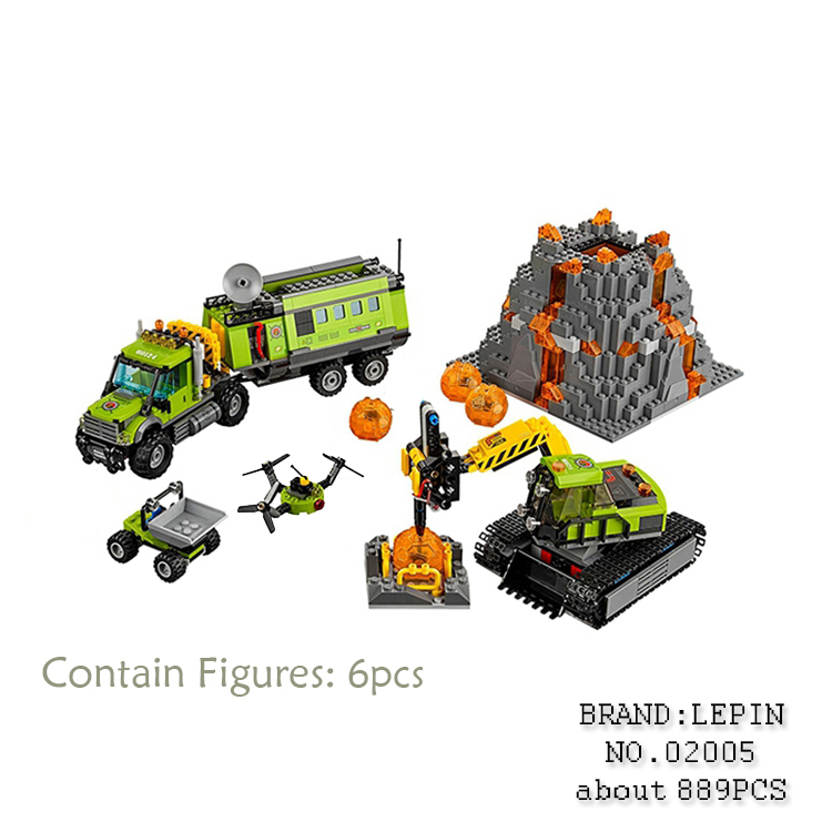New LEPIN 02005 889Pcs City series Volcanic expedition base Model Building blocks Bricks Compatible 60124 Toy forGifts model building blocks kits compatible with lego city 60123 lepin 02004 helicopter volcanic expedition brick model building toys