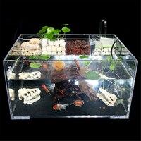 Aquarium Fish Tank with Water Pump Filter Home Office Desktop Decoration Goldfish Turtle Breeding Box Acrylic Cage House