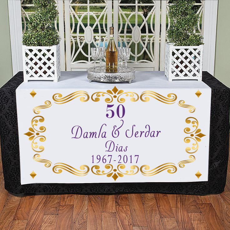 Personalizované zlato 50 Svatební výročí Casamento Decoracao Manteles Para Mesa Parents Festa de 50 Anos DecoratioTable Cloth