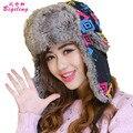 Recién Llegado de Rusia Thicking Faux Fur Bomber Sombreros Para Las Mujeres Sombrero De Esquí De Punto de Protección Del Oído Sombreros de Invierno de la Historieta Con Orejeras Caps