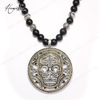 Thomas Gold Plated Skull Mask Disc Pendant Black Obsidian Beads Necklace 925 Silver Rebel Heart Jewelry