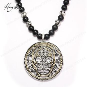 772ceff2f4d9 Thomas máscara de cráneo colgante disco negro obsidiana collar de perlas  rebelde corazón de la joyería para hombres TS-NB129