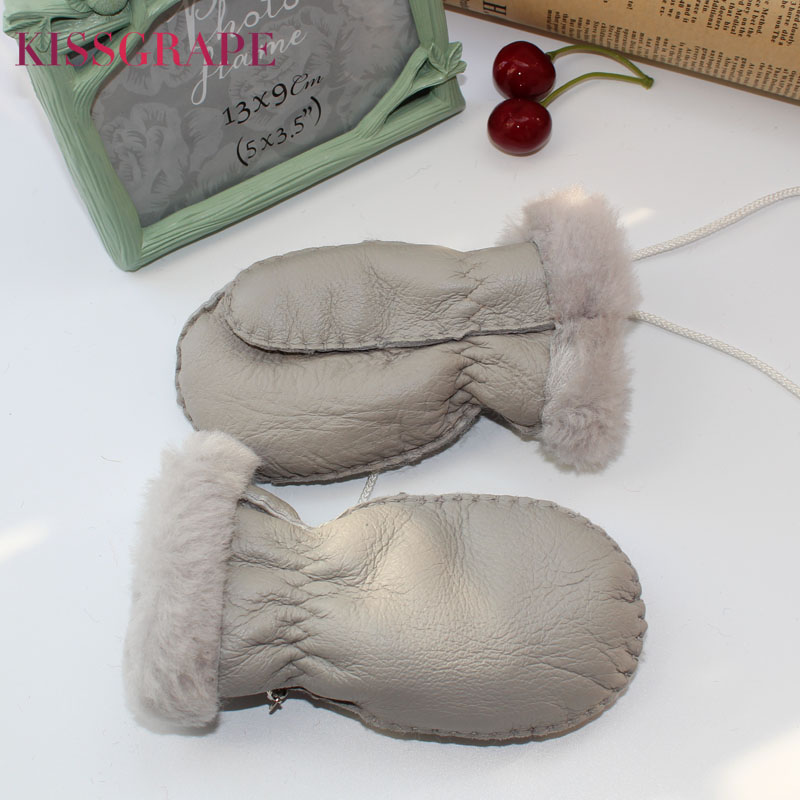 1-5Y Kids Warm Gloves Genuine Leather Sheep Fur Gloves For Children Boys Girls Children's Thick Mittens Outdoor Ski Gloves Luvas