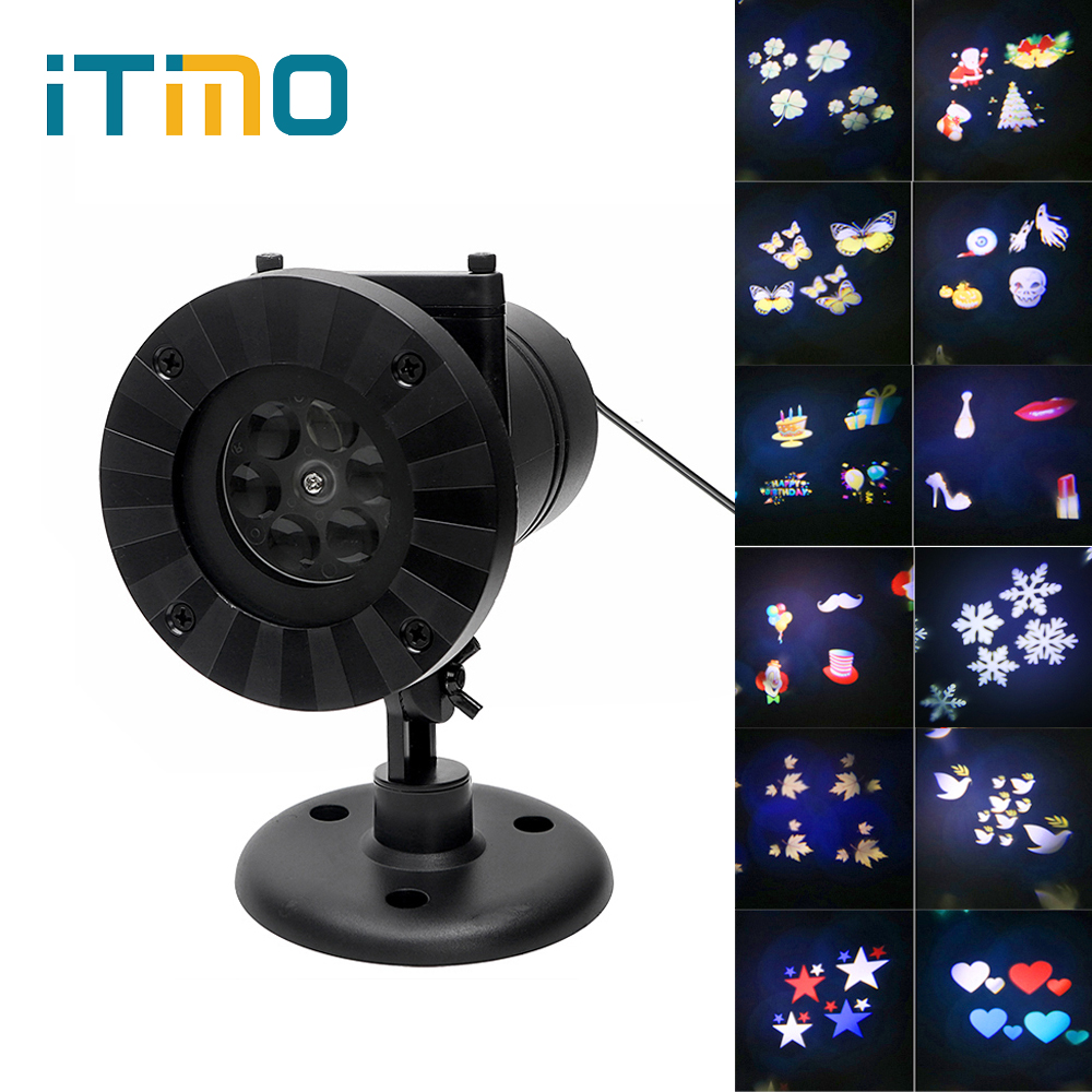 iTimo Snowflake Projector 12 Patterns Christmas Laser LED Stage Light Waterproof Holiday Decoration Garden Outdoor Star Lighting newyear waterproof led snowflake laser projector lamps stage light christmas party garden home decoration outdoor