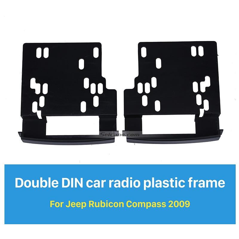 Seicane 173*98mm 2Din Car Radio Fascia for 2009 Jeep Rubicon Compass Decorative Frame Dash CD Fitting Kit Installation