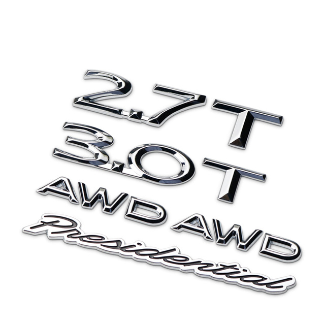 2 7t 3 0t Awd Presidential Chrome Letters Numbers Badge Emblem Car