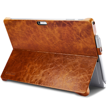 ICARER Case for Microsoft Surface Pro 4 W/ Pencil Holder Cover Oil Wax Vintage Genuine Leather Back Brown