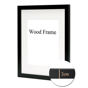 Nature Solid Simple Wooden Frame A4 A3 Black White Pink Color Picture Photo Frame with Mats for Wall Mounting Hardware Included