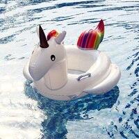27.5 Inç Yaz Yüzme Havuzu Yüzen Şişme Unicorn Karikatür Bebek Şamandıra Yüzen Satır Gökkuşağı At Çocuklar Yüzmek Yüzük