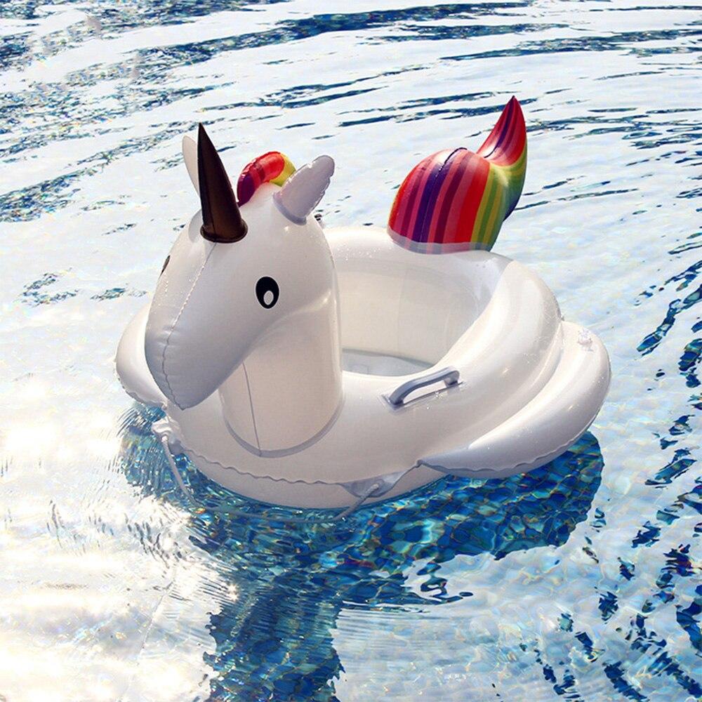 27.5 Inch Summer Swimming Pool Floating Inflatable Unicorn Cartoon Baby Float Floating Row Rainbow Horse Kids Swim Ring