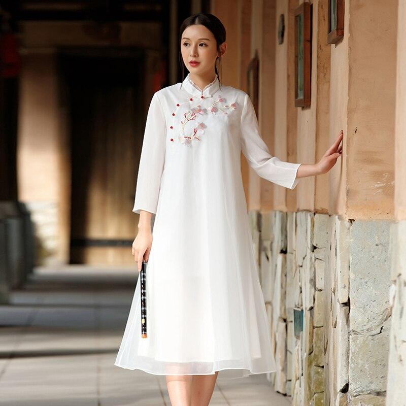 Femmes white pink Mq0022 Rétro red Lâche 2018 Broderie Vêtements Trois Robe Nouveau Printemps Automne Blue Chipao Trimestre Dames Organza Manches HFq5T4n