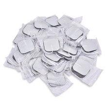 Coussinets délectrodes adhésives, 50pcs/100 pièces, remplacement pour appareil de massage électrique numérique, Tens Square, 4*4/5*5 cm