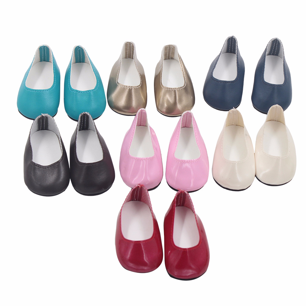 7.5cm Mini Doll Shoes White Flat Shoes For 43 Cm Toy New Born Doll And 45cm American Doll Accessories Baby For Toy Doll