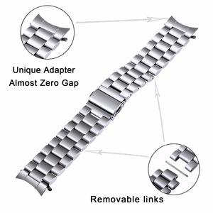 Image 3 - Premium Stainless Steel Watchband for Samsung Galaxy Watch 46mm SM R800 Sports Band Curved End Strap Wrist Bracelet Silver Black