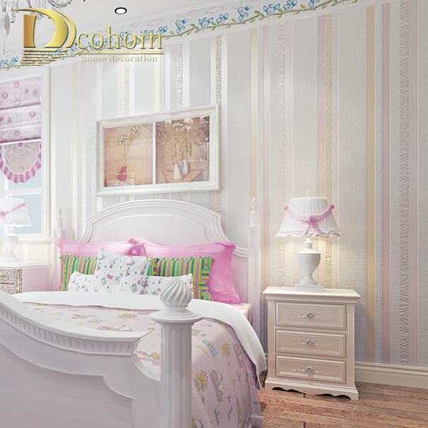 Simple Cozy Blue Pink Glitter Modern Striped Wallpaper  For Children Room Bedroom Embossed Textured Stripe 3D Wall paper Rolls simple particle embossed plaid glitter flower wallpaper living room tv background modern wall covering floral wall paper rolls
