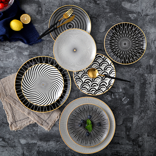 "1pc tableware Phnom penh geometry tableware 6 8 10 inch ceramic Dinner Plate dish porcelain dessert.jpg 640x640 - tabletop-and-bar, new-arrivals, dinnerware - The ""ESCURA"" Collection Dinnerware"