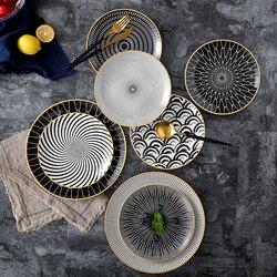 6 stücke 8/10 inch geschirr Phnom penh geometrie geschirr keramik Teller teller porzellan dessert platte geschirr kuchen platte