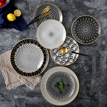 6pcs 8 /10 inch tableware Phnom penh geometry tableware ceramic Dinner Plate dish porcelain dessert plate dinnerware cake plate phnom penh salad plate phnom penh glass tableware plate hand painted gold edge fruit plate golden storage plate